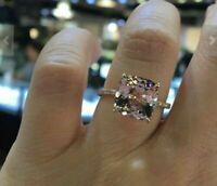 3 Ct Cushion Unique Cut Morganite Solitaire Engagement Ring 14K Rose Gold Over