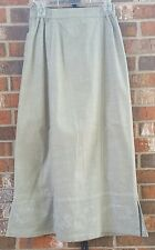 Denim and Co Sage Green XS Maxi Embroidered Skirt Pockets Pretty Modest