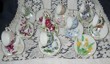 Vintage Napco Miniature Cups & Saucers Flowers of the Month Collection.