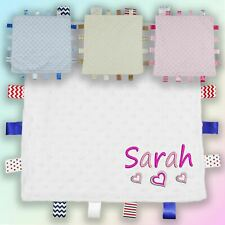 Name & Hearts Embroidered Baby Dimple Taggy Gift Blanket Personalised Unisex