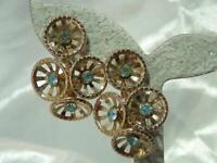 Vintage 60's Mellow Gold Tone Blue Rhinestone Flower Screw Back Earrings 614f1