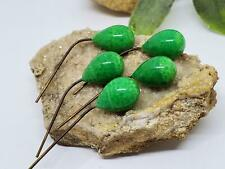 Vintage Green Peking Tear Drops with Embedded Wire For Bails DIY Jewelry Making