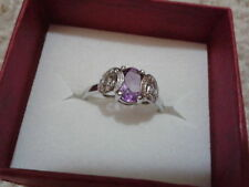 1.4 CT Purple Amethyst Ring in Sterling Silver in Size 9