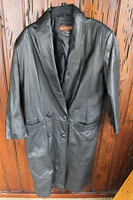 Long ROCK CREEK Black Leather Trench Coat, Lined