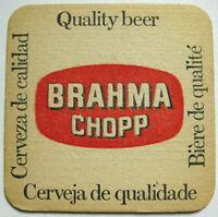 BRAHMA CHOPP CERVEZA old Beer COASTER, Mat, BRAZIL, BRASIL