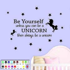 Unicorn Wall Sticker Quote - Children's Bedroom Wall Art Stars Girls Decal Vinyl