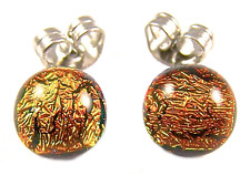 "DICHROIC Post EARRINGS Tiny 1/4"" 7mm GOLDEN ORANGE COPPER Fused GLASS STUDS"