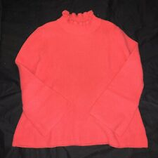 GAP Ruffly Mock Neck Sweater Woman's Small CORAL Cable Knit Warm Chunky