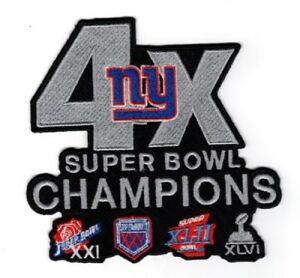 """NEW YORK GIANTS PATCH 4X SUPER BOWL CHAMPIONS JERSEY STYLE 5"""" NFL SUPERBOWL 52?"""