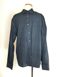 French Connection Mens Size L Shirt Navy Blue Dress Long Sleeve Collar Cotton