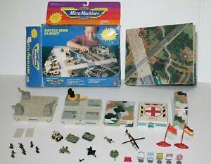 Vintage Galoob Micro Machines Lot Battle Zone Playset Military Cardboard Mat