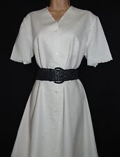 Laura Ashley vintage linen/cotton embroidered button through lined dress, 16 UK