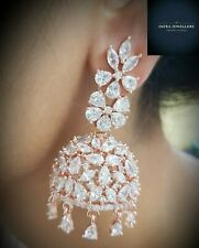 Indian Bollywood Rose gold American Diamond Earring Set Jhumka Fashion Jewelry