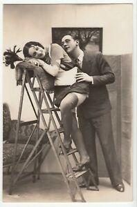 Frau und Mann Liebespaar Love couple Girl Male i RPPC Art Deco ~1935