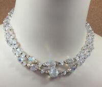 Vintage Necklace Austrian Crystal Aurora Borealis Brass 2 Strand Choker AB22