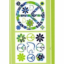 PEACE SIGNS FLOWERS Wall Decals Blue Green Room Decor Stickers Decorations 99793