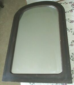 Antique Victorian Mirror in Old Brown Paint with a Black Stripe & a Wooden Back