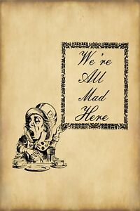 Alice in Wonderland Journal 100 Page Vintage Style Notebook - We're All Mad Here