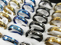 50pcs 6mm black/gold/blue Mixed Stainless steel Rings Wholesale HOT Jewelry Lots