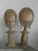Deux statues fertilité. Ghana african statue art primitif art africain