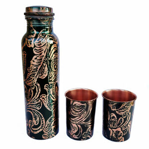Pure Copper Metal Leaf Printed Art Water Bottle with 2 Glass Set Home Décor 10""