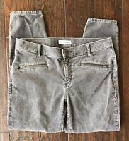 Ann Taylor Loft Women's Modern Skinny Ankle Corduroy Pants Gray Stretch Sz 10/30
