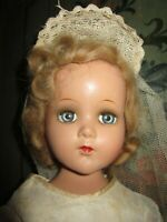 "Beautiful Vintage 17"" Arranbee R & B Composition Bride Doll Original Clothes"