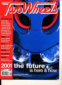 Two Wheels Magazine Jan 2001 Bonneville Honda CBR600FI ZX-6R GSX-R750 used CB600