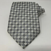 New Donald Trump Signature Collection Silk Checked Geometric Silver Tie Necktie