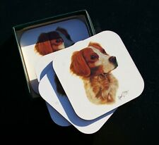 "1993 Brittany Spaniel Dog Set of 4 Cork Backed 4"" Coasters Art by Robert J. May"
