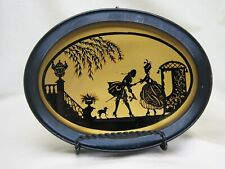 """Vintage Silhouette Victorian Couple with Dog 5.5"""" x 7.25"""" Oval Picture Framed"""