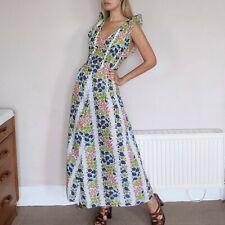 70s Real Vintage Floral Maxi Dress Deep V Neck Plunge Ruffle Shoulder M L Sheer