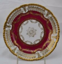 OEG Royal Austria Salad Cabinet Plate Ruby Red Lacey Double Gold