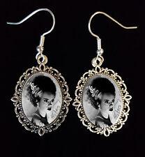 Bride of Frankenstein Antique Silver Drop Earrings Goth Horror Elsa 1935