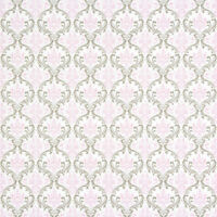 Bella Shabby French Cottage Cotton Home Decor Fabric White Pink Gray Damask