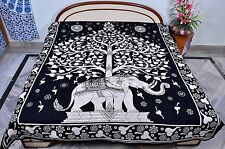 Indian Handmade Elephant Tree Of Life Wall Hanging Throw Queen Size Bedspread