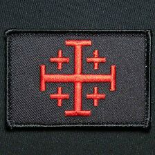 JERUSALEM CROSS CRUSADER RED BLACK OPS JIHAD TACTICAL HOOK ARMY MORALE PATCH