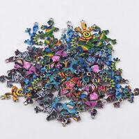 10Pcs Mixed Color Gecko Connectors Charm DIY Pendant Necklace Making Findings