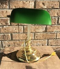Vintage Brass Style Piano Bankers Desk Lamp Green Glass Shade Art Deco