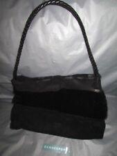 eec94bfa0a DESMO Designer Black Suede Leather Handbag Evening Bag With Fur Accent