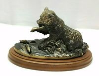 Vintage Terrell O'Brien Bronze Grizzly Bear Fishing Salmon Sculpture Metal Art