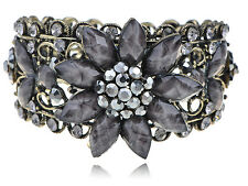 Smoke Black Gray Crystal Rhinestones Floral Vintage Inspire Cuff Bracelet Bangle