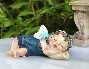 Miniature FAIRY GARDEN ~  Mini Sleeping Jewel Tone Baby Girl BLUE Sapphire