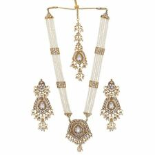 Jwellmart Indian Traditional Faux Pearl CZ Stone Rani Haar Necklace Earring Set