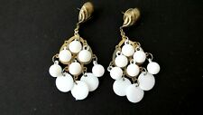 "Pierced Earrings 3 1/4"" Long Retro 70's Vintage White Plastic Dangle Circles"