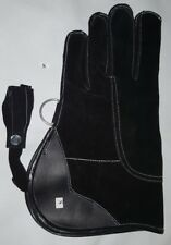 New Falconry Glove Suede Leather Double Layer 12 Inches Long Small Size Black