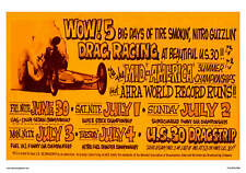 "POSTER US 30 DRAGSTRIP GARY INDIANA 5 BIG DAYS 1970'S 14"" x 20"" NOSTALGIA"
