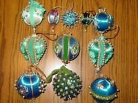 11 ~ Vtg Handmade Christmas Satin Ornament Beaded Sequin Push Pin ~ BLUE~ Estate