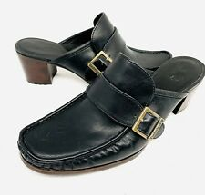 Timberland Black Leather Heeled Mules Size 8.5 Clogs Shoes NEW