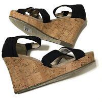 TOMS Womens Black Cross Cork Wedge Heel Ankle Strap Sandal 6